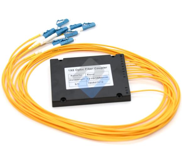 1x8 PLC Fiber Splitter, Splice/Pigtailed ABS Module, 900μm, LC/UPC, Singlemode