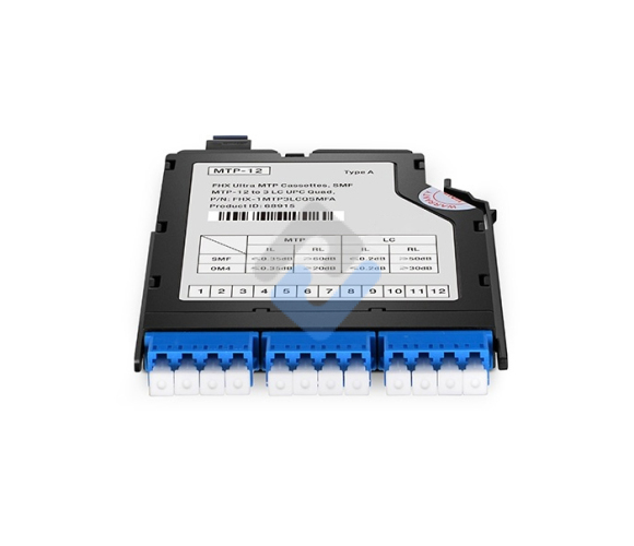 MTP-12 to 3x LC Quad, Type A, 12 Fibers OS2 Single Mode FHX MTP/MPO Cassette