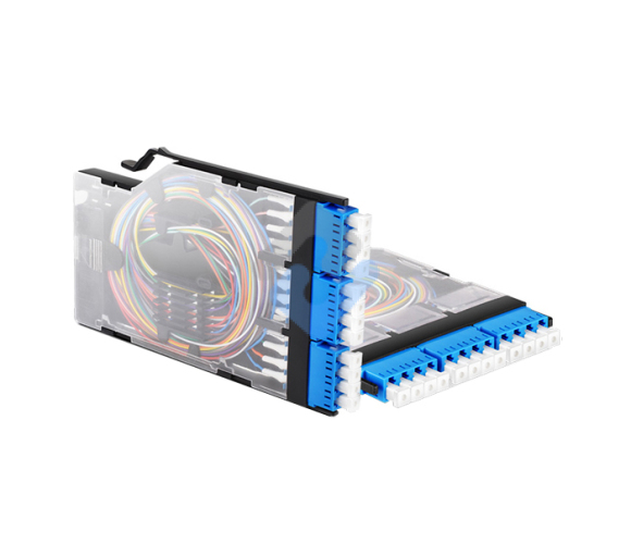 3x LC Quad, 12 Fibers OS2 Single Mode FHX Splice Cassette, Pre-loaded Color-coded Pigtail